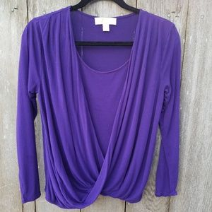 Michael Kors Purple Long Sleeve Drape Top - Size M